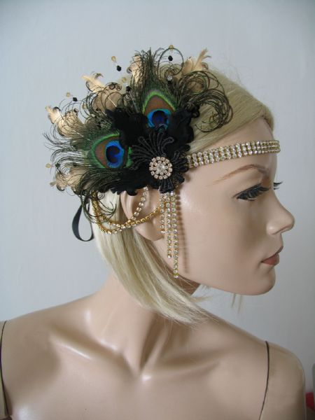 "Black Gold Green Peacock Feathers Lace Crystal ""Jem"" Headband 1920s Art Deco Gatsby Flapper"